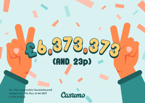 Hall of Gods jackpot winner at Casumo