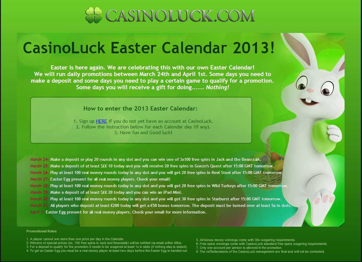 CasinoLuck Easter Calender 2013