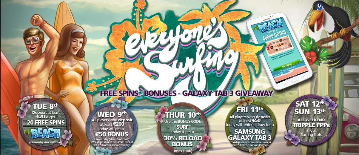 Everyone's Surfing promotional week at CasinoLuck