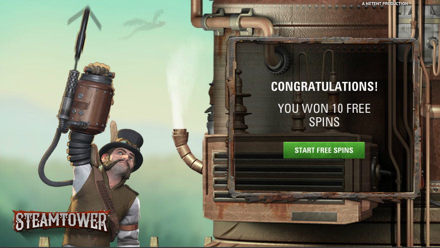 Claim 30 free spins on Steam Tower at Royal Panda