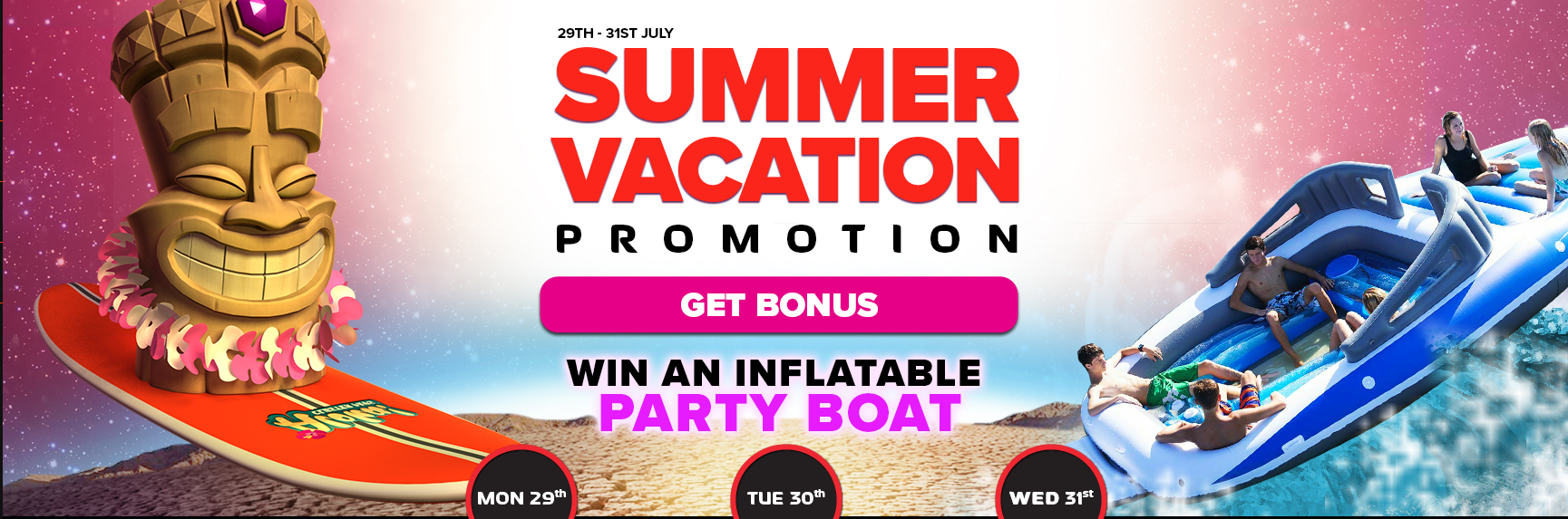 Win an inflatable party boat and claim free spins