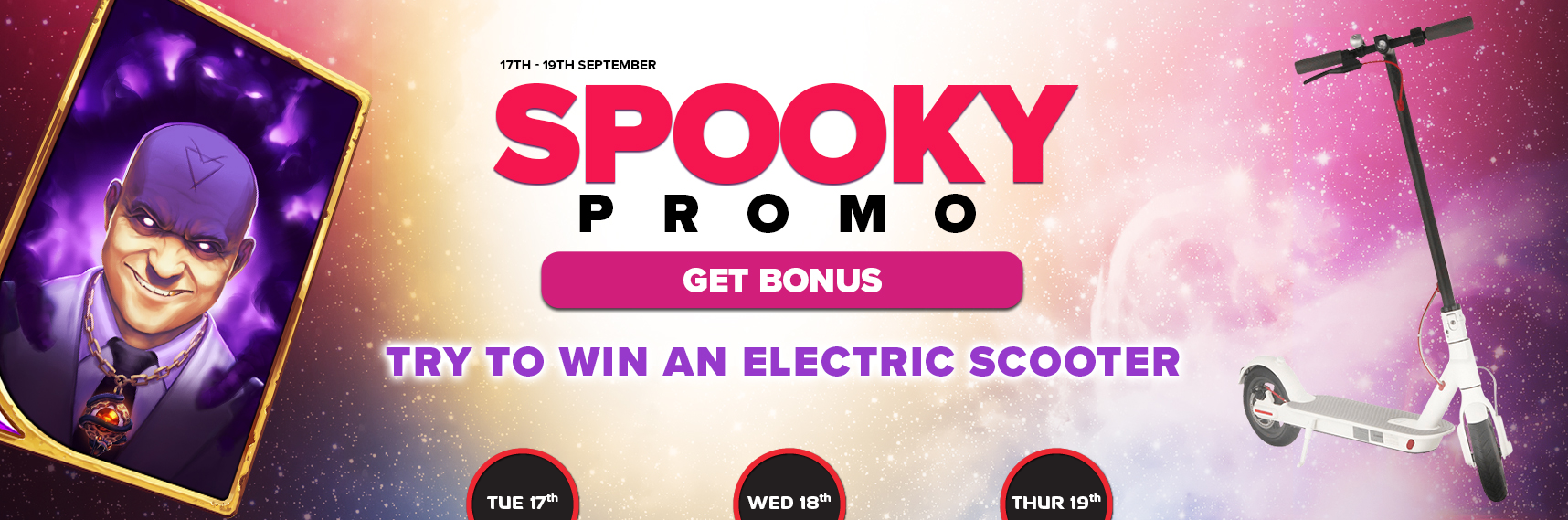 Win an electric scooter during the Spooky Promo